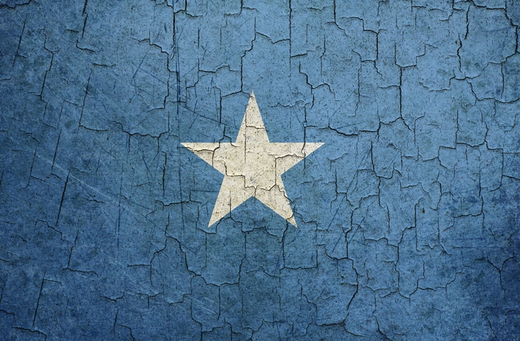 Somalian flag on a cracked grunge background